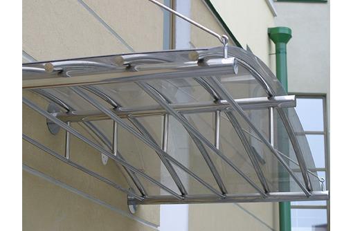 Изготовление и установка козырьков и навесов металла, из профнастила, поликарбоната, фото — «Реклама Севастополя»