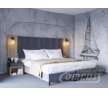Спальный гарнитур 9: Кровать бокспринг, Матрас ортопедический, Тумба прикроватаная с ящиком, Шкаф - Мебель для спальни в Севастополе