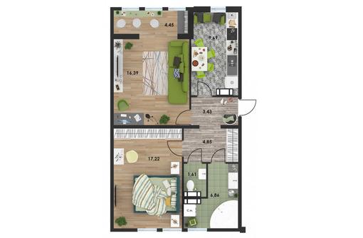 Продается 2-кв с частичным ремонтом, 5-й мрн гороа, Архитектор-3 - Квартиры в Севастополе