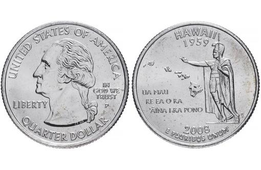 Продаю юбилейную монету 25 центов 2008 года США Гавайи Hwaii, фото — «Реклама Севастополя»