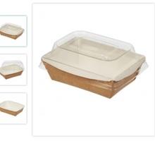 """Бумажный контейнер 800 мл крафт """"Crystal Box"""" 207*127*55 мм с прозрачной крышкой - Посуда в Симферополе"""