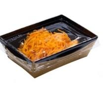 """Бумажный контейнер 800 мл черный """"Crystal Box"""" 140*180*45мм с прозрачной крышкой - Посуда в Симферополе"""