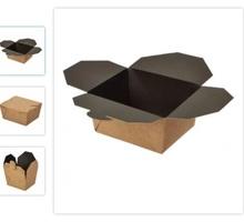 """Бумажный контейнер """"Fold Box"""" 600 мл черный 130*110*65 мм - Посуда в Крыму"""