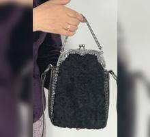 Женская сумка - Тиффани-01.К  Черная каракульча с черным винтажным фермуаром - Сумки в Севастополе