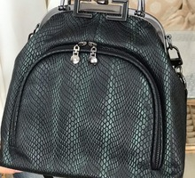 Женская сумка - Лерден-01  Черно-зеленый питон, черный никель - Сумки в Севастополе