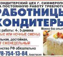 Работницы (-ки) требуются в кондитерский цех - Бары / рестораны / общепит в Симферополе