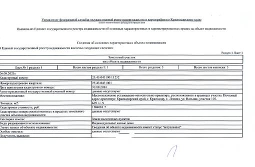 Продам участок ИЖС  6,69сот. х. ЛЕНИНА - Участки в Краснодаре