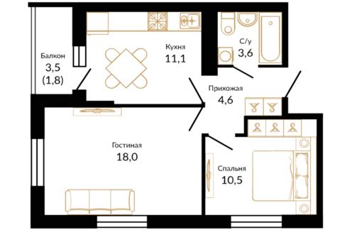 2-комнатная квартира, 50 кв.м. - Квартиры в Краснодаре