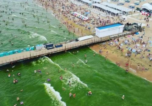 Все оттенки Черного моря: из-за цветения водорослей вода у берегов Кубани приобрела изумрудный цвет ФОТО, ВИДЕО