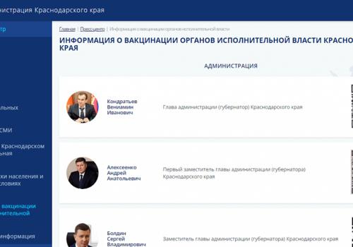 На сайте администрации Кубани опубликовали сертификат вакцинации губернатора